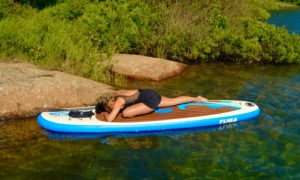 Pigeon Pose, Kapotasana, SUP Yoga, Paddle board, Paddleboarding, Stand up paddle
