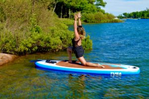 Modified Warrior I, Virabhdrasana, SUP Yoga, Paddle board, Paddleboarding, Stand up paddle