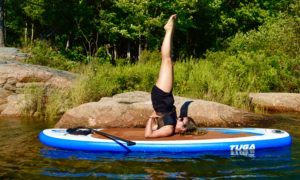 Supported Shoulder Stand, Salamba Sarvangasana, SUP Yoga, Paddle board, Paddleboarding, Stand up paddle