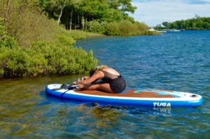 Seated Forward Bend, Pashimottanasana, SUP Yoga, Paddle board, Paddleboarding, Stand up paddle