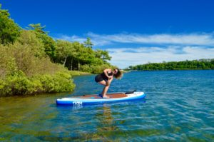 Revolved Chair Pose, Parivrtta Utkatasana, SUP Yoga, Paddle board, Paddleboarding, Stand up paddle